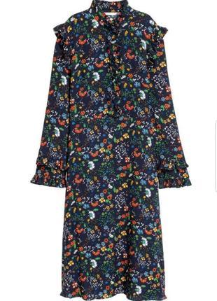 Шикарное платье миди h&m в цветы, с оборками.