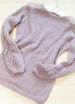 Пудровый свитер из итальянской пряжи. меринос кид мохер