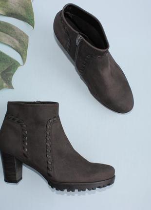 Gabor кожаные ботильоны, ботинки на каблуке утепленные короткие демисезонные