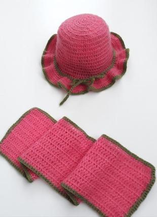 Вязаная шляпка с шалью детская aa4fb1dfc74d7