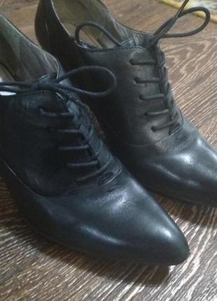 Кожаные демисезонные туфли на шнурочках