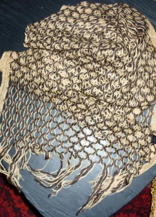 Шарф в'язаний, бежево-коричневий / шарф вязаный, бежево-коричневый