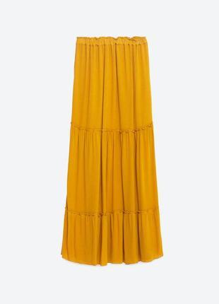 Горчичная юбка zara , макси, плиссе
