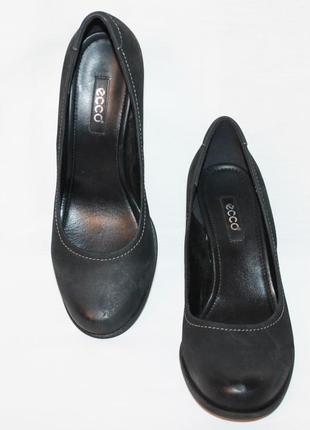 Туфли чёрный 100% нубук ecco 40р 26,5см
