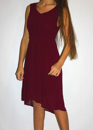 Бордовое шифоновое платье с удлиненной спинкой  -- срочная уценка --