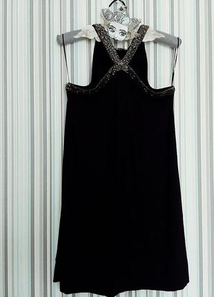 Трикотажное платье - сарафан шлейки из бисера s-м