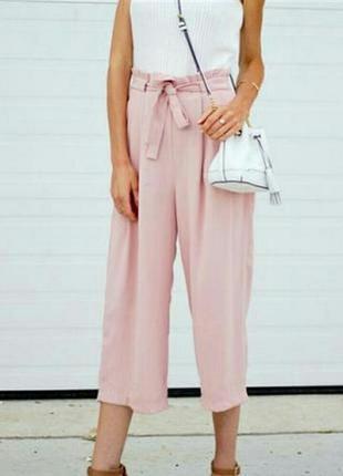 Пудровые льняные кюлоты,юбка-брюки,широкие брюки,бриджи батал