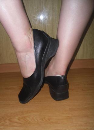 Удобные туфли/нат.кожа/27 см/бренд hopman/танкетка