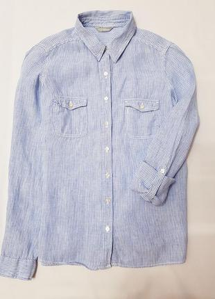 Marks&spencer woman рубашка сорочка лен в полоску м