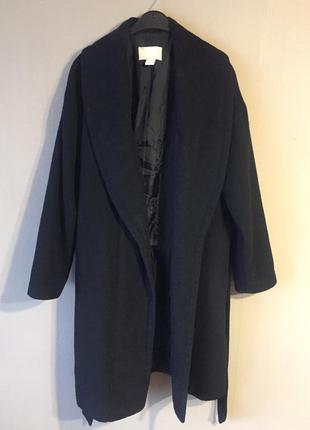 Шерстяное пальто халат на запах