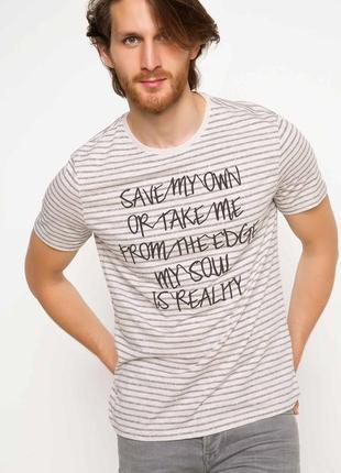 2-54 новая полосатая мужская футболка defacto размер s, m фирменная