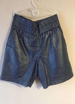 Удлиненные кожаные шорты с высокой посадкой ganni
