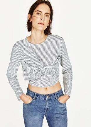 Кофта кроп укороченная рубашка в полоску