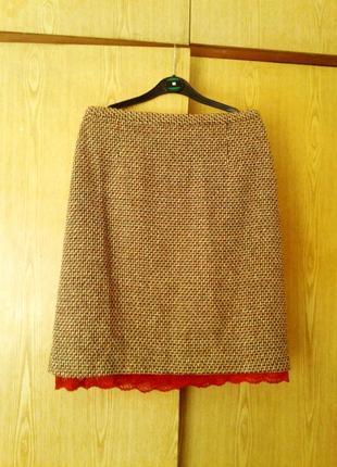 Красивейшая плотная теплая шелковая юбка , l