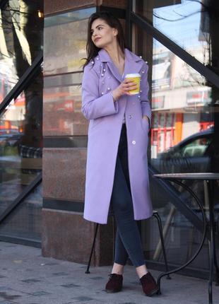 Последние пальто с жемчугом сиреневого цвета_44(м)