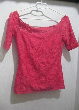 Ажурная джемпер кофта gina tricot розовая гипюр открытые плечи