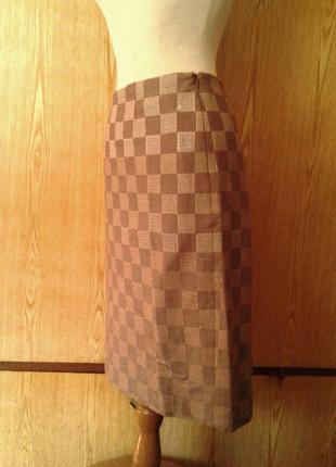 Прямая полушерстяная коричнево - золотая юбка ,10 / viyella.