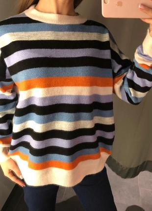 Свитер в полоску мягкий свитеров пуловер amisu есть размеры