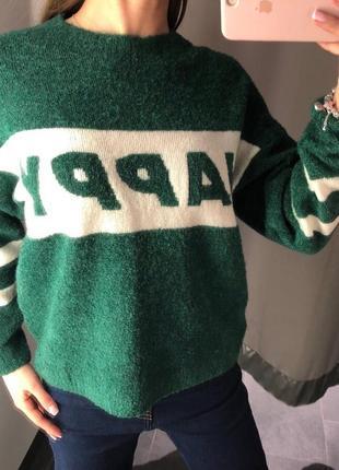 Зелёный свитер букле тёплый свитерок amisu есть размеры