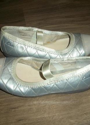 Кожаные балетки серебро евро размер 13 f clarks кларкс2 фото