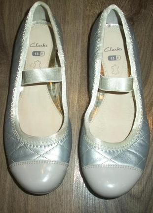 Кожаные балетки серебро евро размер 13 f clarks кларкс3 фото