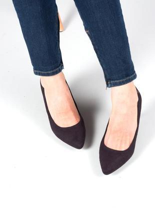 Чёрные классические замшевые туфли лодочки на каблуку pepe jeans, размер 36 / 37