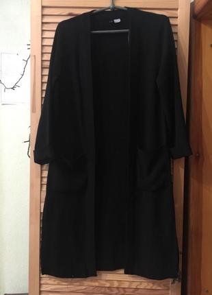 Кардиган чёрный длинный с разрезами универсальный кофта/накидка