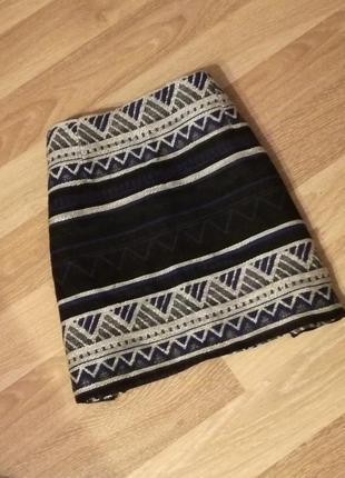 Тёплая, вязаная юбка в орнамент, геометричный принт atmosphere