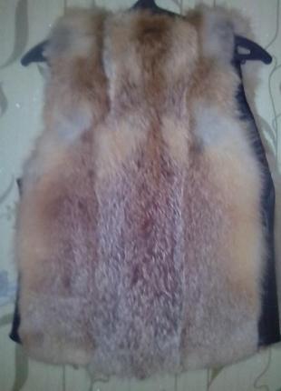 Кожанный жилет с натуральной лисицей, размер m - l