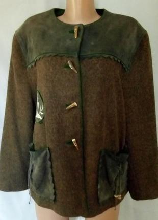 Шерстяной жакет, пиджак, куртка с замшевой отделкой, на подкладке.