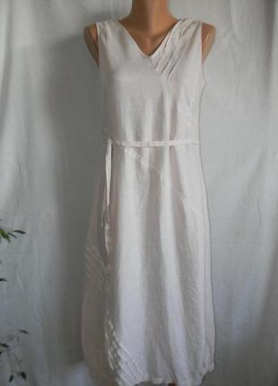 Нежно розовое платье лен malvin