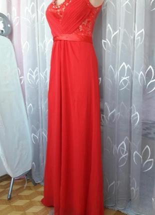 Красное вечернее платье в пол гипюр атлас крепдишин
