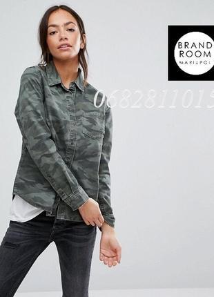Стильная рубашка милитари джинсовая, хаки на кнопках из денима