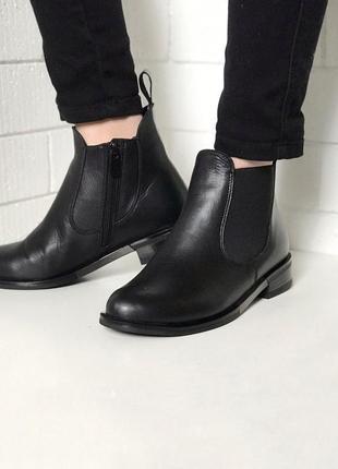 Ботинки кожаные , из натуральной черной кожи ,челси, с резинкой , демисезон, 36-40