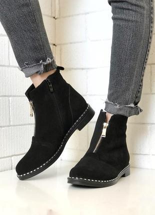 Ботинки из натурального замша, замш, черные, без каблука, демисезонные, 36-40