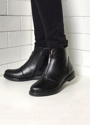 Ботинки кожаные , из натуральной черной кожи, демисезонные, байка, из замком , 36-40