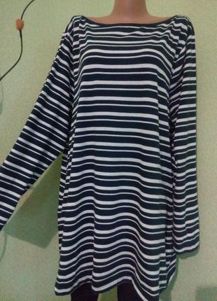 Хлопковая блуза блузка туника в полоску большого размера 56-58,22-24 uk