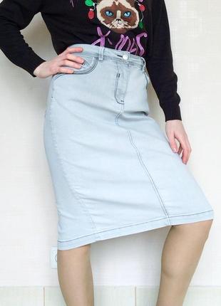 Стильная джинсовая юбка миди до колен с разрезом tu