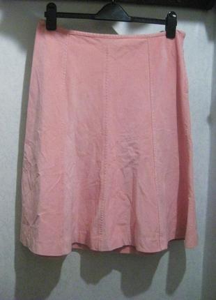 Юбка h&m розовая велюровая вельвет коттон хлопок