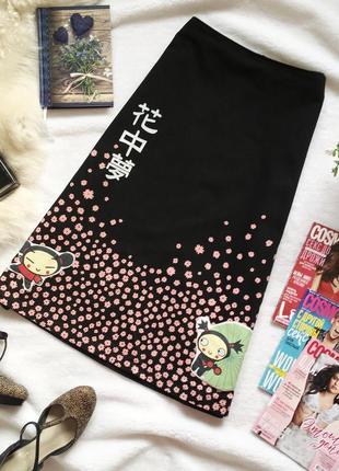 Оригинальная юбка трапеция миди в японском стиле blue star exchange