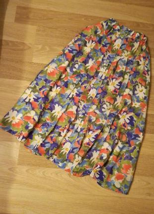 Шикарная цветочная юбка миди с высокой талией спереди плиссе на пуговицах