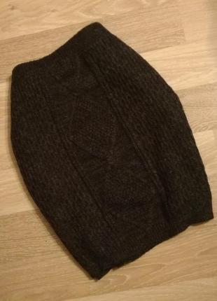 Вязаная тёплая юбка с узором в фактурные косы f&f.большой размер