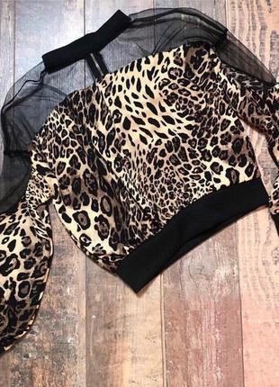 Леопардовая кофточка с гипюровыми вставками @womens.online.showroom