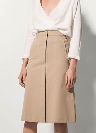 Трендовая стильная юбка миди на молнии спереди