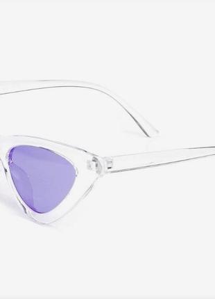 Прозрачные треугольные очки в ретро стиле сиреневые линзы винтажные для имиджа стиля