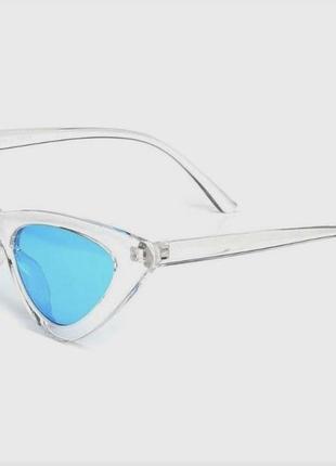 Прозрачные треугольные очки в ретро стиле синие линзы винтажные для имиджа стиля