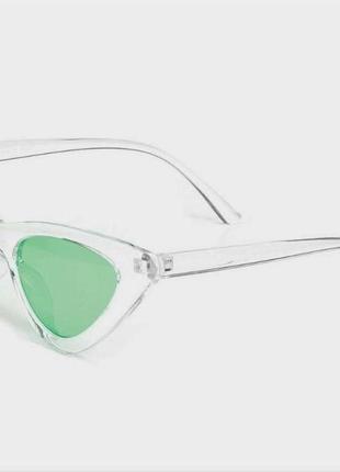 Прозрачные треугольные очки в ретро стиле зеленые линзы винтажные для имиджа стиля