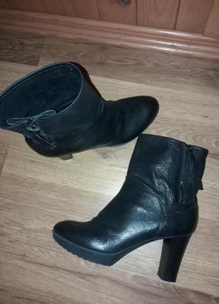 Новые кожаные итальянская демисезонные ботинки на широком, устойчивом каблуке рр 39