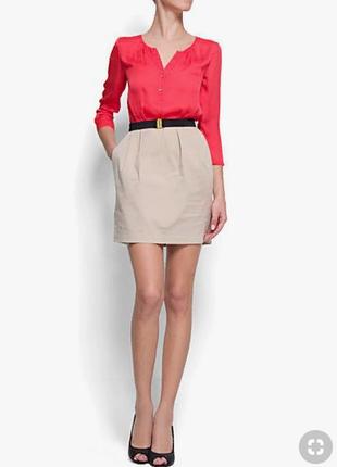 Платье mango комбинированное офис красное коралловое бежевое серое юбка блуза