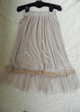 💣 красивая и стильная юбка велюр сверху сетка евро фатин волан с мехом